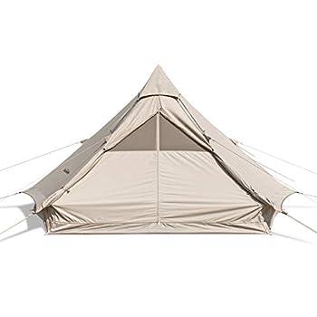 Naturehike Brighten 6.4m² Tente Pyramide en Coton pour Plusieurs Personnes Camping en Plein Air Tente épaissie (Quicksand Or 6.4)