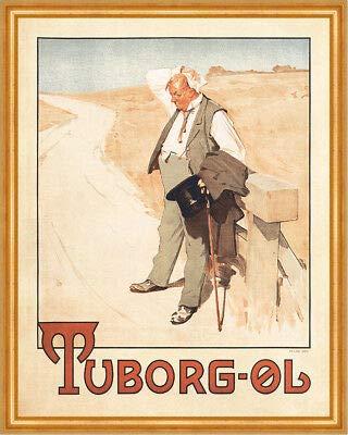 Kunstdruck Tuborg Ol Der durstige Mann Tuborg-Bier Erik Henningsen Plakate A2 422 Gerahmt