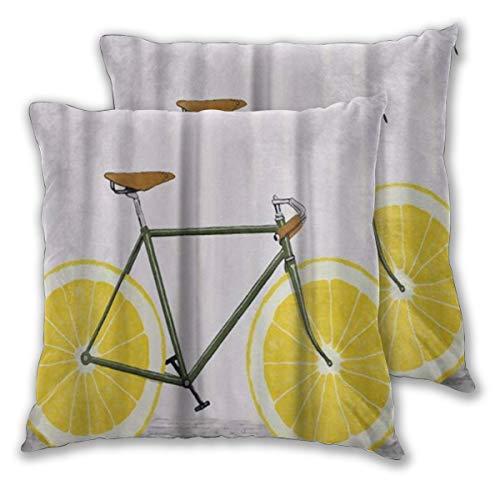 BOKEKANG Fundas de Cojines,Summer Bicycle Yellow Lemon Rueda Ciclista,Cuadrado Almohada Poliéster para Sofá Cama Hogar Decoración,Set de 2, 55x55cm