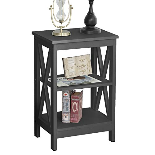soges Coffee Table End Table Side Table Sofa Table Night Stand with 3-Tier Shelf,black,DX-240A-BR-UT