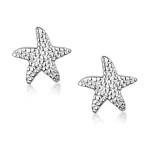 Amberta Pendientes de Botón para Mujer en Plata de Primera Ley 925 con Motivos de la Naturaleza: Estrella de Mar