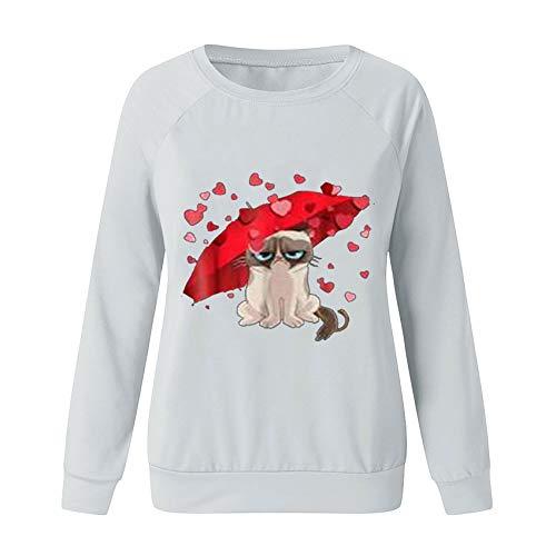 x8jdieu3 Primavera E Autunno San Valentino Amore Stampa Animale Stampa E Tintura Cuciture Girocollo Manica Lunga T-Shirt Da Donna Donna