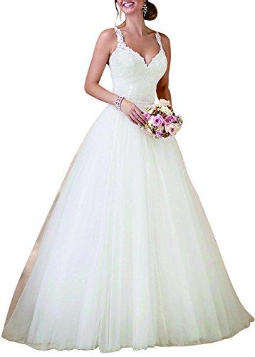 PearlBridal Women's V-Neck Spaghetti Straps Lace Wedding Dresses with Detachable Train Ivory Size 22plus
