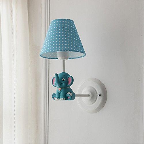 YU-K eenvoudige woonkamer eetkamer tuin olifant muur jong meisjeskind slaapkamer bed wand, blauw, wit, hoogte 35 cm 25 cm muur lampenkap Φ 18 cm hoog 13,5 cm base Φ 15 cm