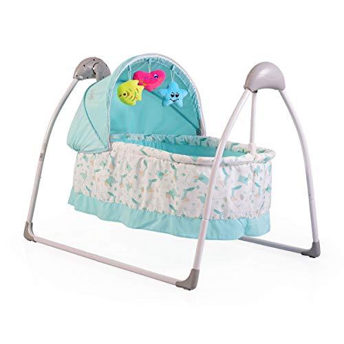 Babywiege Accent, elektrisch, Remote, Musik, Timer, Spielbogen, Insektenschutz (Blau)