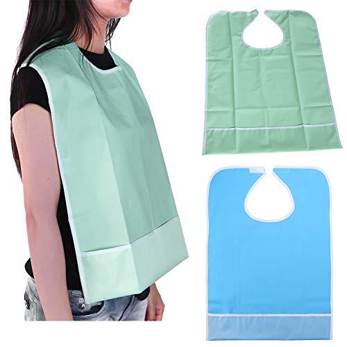 Nuolux Bavaglino impermeabile per adulti per proteggere i vestiti, bavaglino per anziani, disabili (verde chiaro).