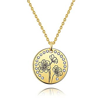 KissYan Birth Month Flower Necklace Personalized 18K Gold Plated Dainty Custom Name Coin Pendant Necklace Birthday Jewelry Gift for Mom Her Women FBA Oct