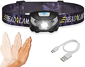 TECHVIDA LED Head Torch Headlight Lamp Camping Induction Headlamp USB Rechargeable, Waterproof Torch Light