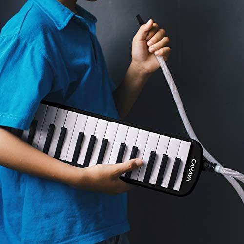 CAHAYAMelodica鍵盤ハーモニカ32鍵メロディーピアノ32鍵多功能2×立奏唄口2×卓奏唄口軽量ブラック【FDA認証取得】(本体+バッグ+ホース+唄口+クリーニング用クロス)