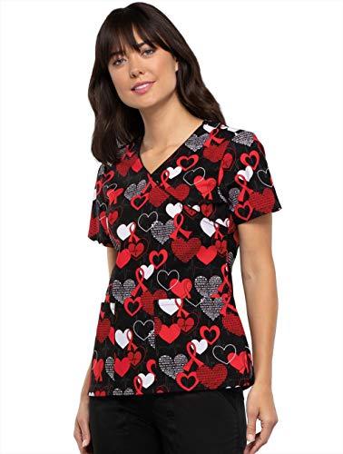 Cherokee Prints Women Scrubs Top Mock Wrap CK614, S, Heart Smart