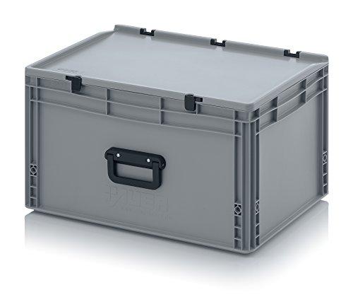 Eurobehälter 60 x 40 x 33,5 mit Scharnierdeckel und Griff (Tragegriff, Klappgriff) inkl. gratis Zollstock