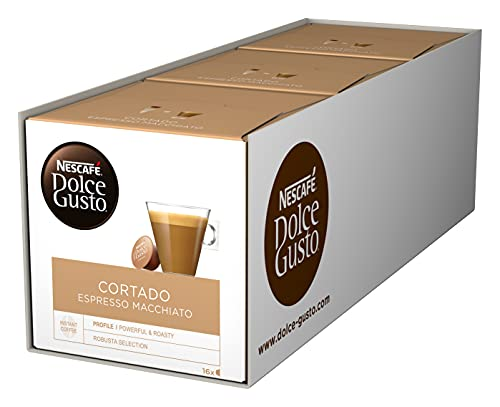NESCAFÉ Dolce Gusto Cortado Espresso Macchiato I 48 Kaffeekapseln I Robusta und Arabica Bohnen I Spanischer Milchkaffee I Ein Hauch Cremigkeit I Aromaversiegelte Kapseln I 3er Pack (3 x 16 Kapseln)