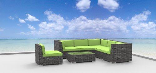 Hot Sale Urban Furnishing - Kauai 7pc Modern Outdoor Backyard Wicker Rattan Patio Furniture Sofa Chair Couch Set - Lime Green