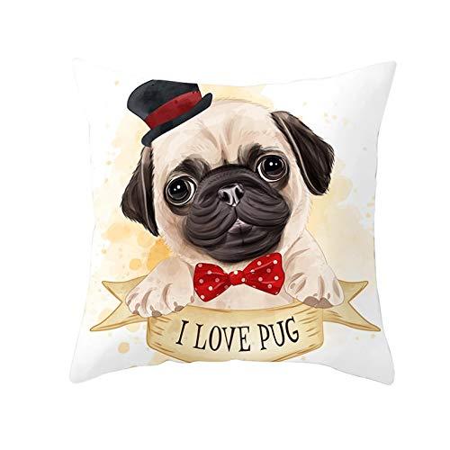 Funda cojín Funda almohada para sofá Impresión Preciosa funda cojín para perros dibujos animados funda almohada blanca poliéster nórdico funda almohada cachorros lindos Bulldog decoración habitación