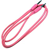 3-Ft. Shielded Stereo Cable, 1/8' 3.5mm Plug to 1/8' 3.5mm Plug (Pink)