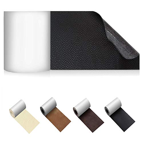 Leather Repair Patch, Leather Patch, Self-Adhesive Leather Repair Kit for Couches, Car Seat, Sofa, Furniture, Handbags | No Heat Required Leather Tape -3X62 Inch -Black