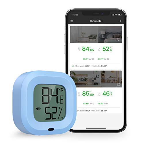 Brifit Kabelloses Thermometer Hygrometer, Bluetooth Thermometer Hygrometer für iPhone/Andiord, Thermometer Innen mit Datenlogger und Daten Export, Alarm-funktion, für Wein, Zigarre, Babyzimmer (Blau)