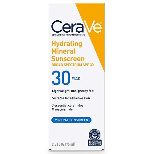 CeraVe 100% Mineral Sunscreen SPF 30 | Face Sunscreen with Zinc Oxide & Titanium Dioxide for Sensitive Skin | 2.5 oz, 1 Pack