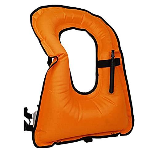 ZAYZ Chaleco de Snorkel para Adultos, Chaquetas Inflables Ligeras Chaleco Salvavidas para Deportes Acuáticos al Aire Libre (Color : Orange, Size : 61x45cm)