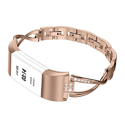 Wearlizer für Fitbit Charge 2 Armband Charge2, Metall Replacement Strass Fitbit Charge2 Armband Wrist Band für Fitbit Charge Two + Rose Gold