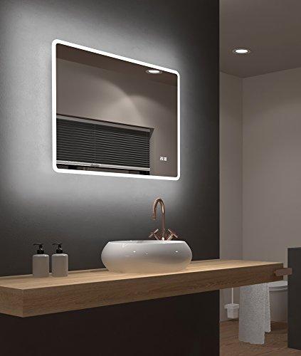 LED Badspiegel Talos Sun 80 x 70 cm - Lichtumrahmung - Lichtfarbe 4200K- Digitaluhr - Modernes Design