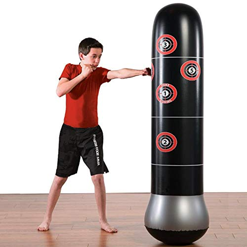 DWST Fitness Boxsack, aufblasbarer Boxsack, freistehende Zielstand Tumbler, MMA Stanzen Kicktraining Bop-Beutel for Kinder Erwachsene 1,6 Meter hoch Boxball (Color : Black, Size : 160cm)