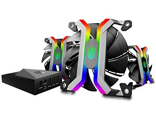 DeepCool MF120 Lüfter-Set, 3 Stück, Smart RGB PWM 120 mm, mit Open-Rahmen, komplett aus Aluminium, WLAN-Controller