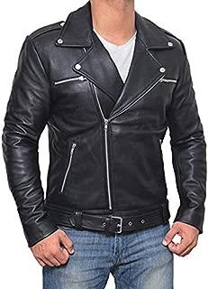 Dolly Lamb Mens Leather Jacket Men's Boda Skin Replica Leather Motorcycle Slim fit Jacket Bomber Biker Black Leather Jacket