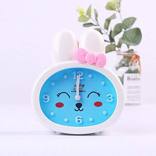 JJIAOJJ Reloj despertador para estudiantes con dibujos animados lindos niños, reloj despertador especial para dormitorio con personalidad perezosa para hablar, color rosa (color: azul)