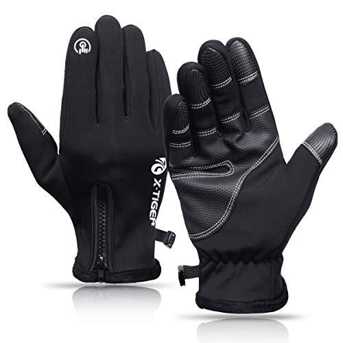 X-TIGER Herren Warme Fahrradhandschuhe, Fleece Innenfutter Winter MTB Touchscreen Handschuhe mit Anti-Rutsch Full Finger Laufhandschuhe Winddichte Winterhandschuhe