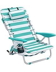 Songmics Strandstoel met afneembare hoofdsteun, draagbare klapstoel, campingstoel, rugleuning tot 180° verstelbaar, met bekerhouder en zijzak