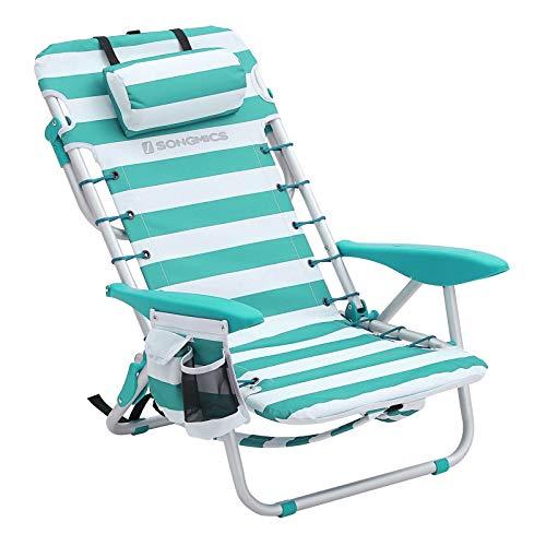 SONGMICS Strandstuhl mit Abnehmbarer Kopfstütze, tragbarer Klappstuhl, Campingstuhl, Rückenlehne bis zu 180° verstellbar, mit Getränkehalter und Seitentasche, grün-weiß gestreift GCB62JW