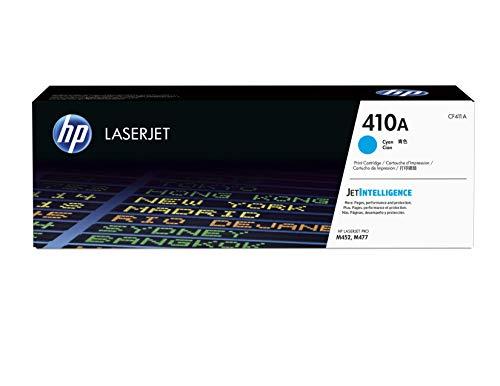 HP 410A CF411A, Cian, Cartucho Tóner Original, de 2.300 páginas, para impresoras HP Color LaserJet Pro serie M452 y M477
