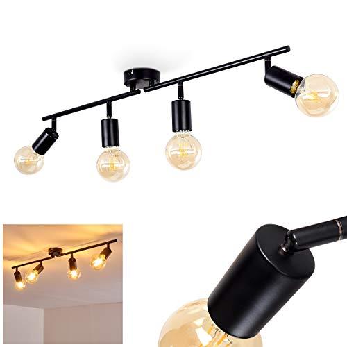 Deckenleuchte Maidford, Deckenlampe aus Metall in Schwarz, 4-flammig, mit verstellbaren Strahlern, 4 x E27-Fassung max. 60 Watt, Spot im Retro/Vintage Design, für LED Leuchtmittel geeignet