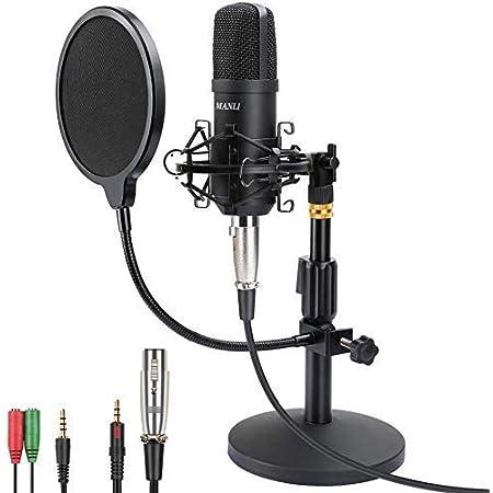 マイク コンデンサーマイク PC用マイク マイクセット 高音質 単一指向性 マイクスタンド付き 録音 生放送 Youtube ツイキャス ゲーム実況などのライブ配信 Skype LINEなどの通話 生放送 楽器 音楽 (3.5mm)