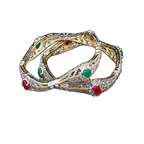 JewelryOnClick Bangles Latest Indian Handamde White Cubic Zircon with Green Emerald Panna and Pink Ruby Manik Round Stone Chudi for Women Gold Plated Designer Kangan MSBL 34-10-MULTI-2.12