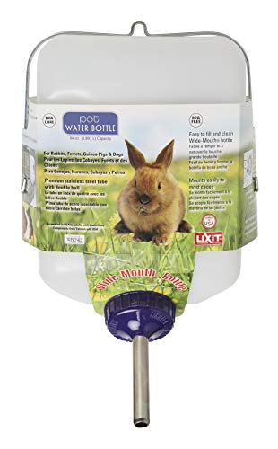 Lixit 64 Wide Mouth All Weather Water Bottle for Rabbits (Pack of 1)