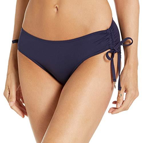 Anne Cole Women's Alex Solid Side Tie Adjustable Bikini Swim Bottom, Navy, Medium