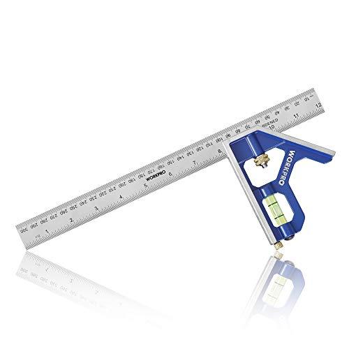 WORKPRO Kombinationswinkel 300mm Kombination Square Messwerkzeug Einstellbar Anschlagwinkel mit Wasserwaage Multifunktions Winkel Lineal aus Edelstahl für 90&45 Grad Messungen(metrisch/Zoll)