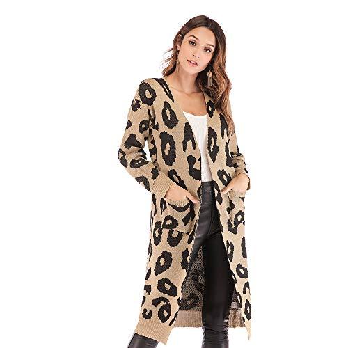 gumeng Europäische und amerikanische Damen Strickjacke Weihnachten Leopardenmuster Herbst und Winter Taschenpullover Pullover Khaki XL