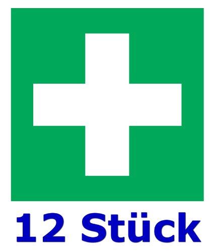 LYSCO 12 Stück - Folienaufkleber grünes Kreuz Größe 5 x 5 cm - für innen und außen geeignet - Verbandskasten Erste Hilfe Medizinschrank (Auf-512k)