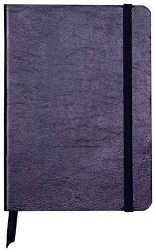 Clairefontaine 400091C Notizbuch (mit Perlmutt-Effekt mit Softcover aus Leder, DIN A6, 10,5 x 14,8cm, 72 Blatt, blanko, Gummizugverschluß, Lesezeichen) 1 Stück petrolblau