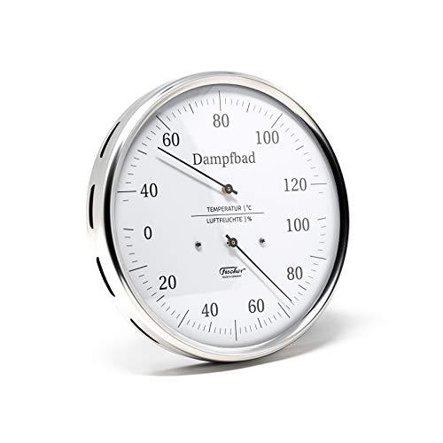 Fischer 182.01 - Dampfbad-Thermohygrometer - 130mm Haar-Hygrometer u. Bimetall-Thermometer aus Edelstahl Made in Germany