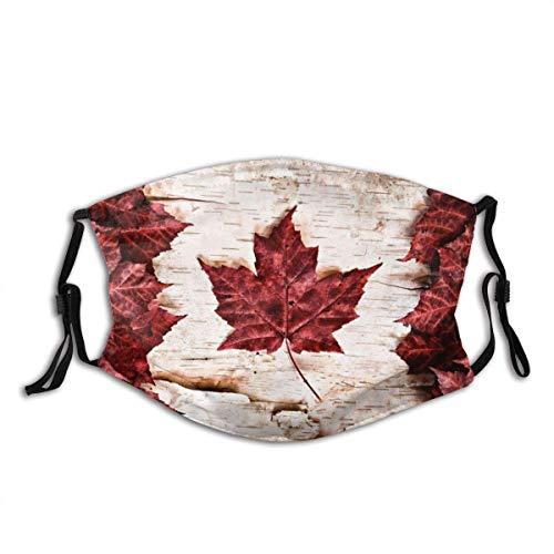 AYGoUP Gesichtsschutz Mundschutz Flagge von Kanada konstruiert von Ahornblättern White Birch Bark Country Symbol Wiederverwendbarer Nasenschutz Waschbar staubdicht gegen Verschmutzung Mit Filtern