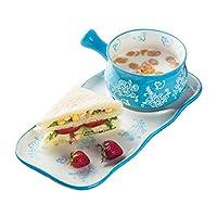 HUI食器 クリエイティブセラミックディッシュ朝食カトラリーセット世帯オートミールボウル朝食ボウルライスボウル(カラー:レッド) (Color : Blue)