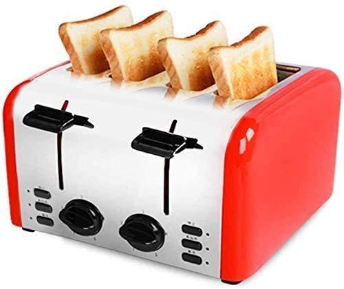 Broodmachines, 4 slice toaster, Compact broodroosters Instellingen, brede sleuven, roestvrij stalen behuizing, uitneembare kruimellade ZHW345