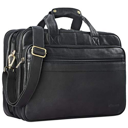 STILORD 'Leopold' Umhängetasche Herren Ledertasche Aktentasche Schultertasche Lehrertasche Notebooktasche Laptoptasche Unitasche Collegetasche echtes Büffel-Leder, Farbe:schwarz