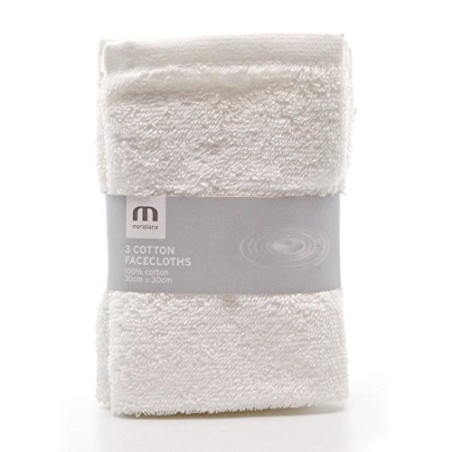 Meridiana Super Soft 100% Cotton Family Washcloths. Machine Washable. White. 3 Pack. 30cm X 30cm X