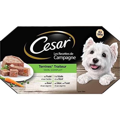 Cesar Les Recettes de Campagne Terrines Traiteur 100% Complet 150g par 4 (Lot de 4 Soit 16 boîtes)