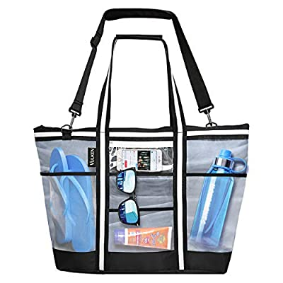 Vulken 42L Extra Large Mesh Beach Bag. Multipurpose Tote Bag Shoulder Bag for Picnic, Travel, Shopping and Gym. 9 Pockets Top Zip Quick Dry Swim Bag for Women and Men.